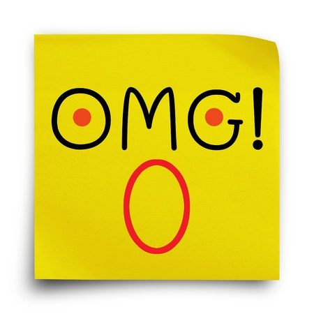 OMG!! wording with face cartoon on yellow sticker paper note on white background photo