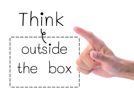 wording: Think outside the box, thinking concept.