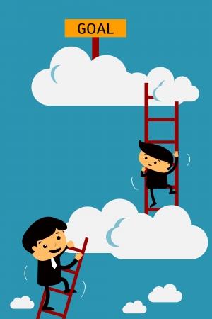 ladder of success: Go higher to goal  Illustration