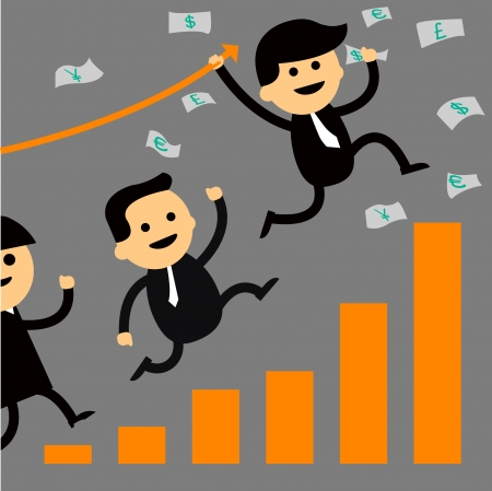 Business teamwork with growing statistics Vector