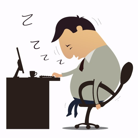 Man Sleepy at work Vector