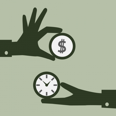 el tiempo: El tiempo es dinero concepto Vectores