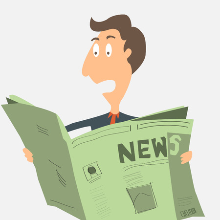 good news: Business man surprised with good news from reading newspaper Illustration