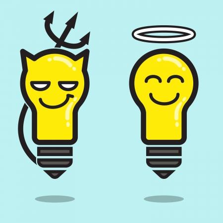 teufel und engel: Engel und Teufel, die Idee, gute und schlechte Illustration