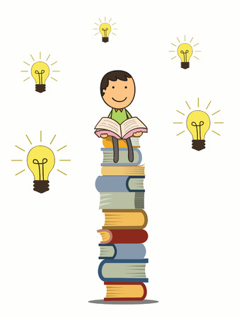 Boy reading book and sitting on stack of books with idea light bulbs around hime  Knowledge and education concept   Vector