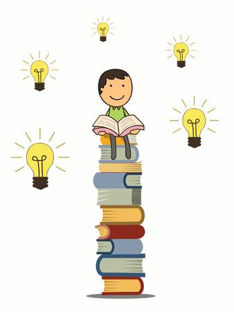denkender mensch: Jungenlesebuch und sitzen auf Stapel B�cher mit Idee Gl�hbirnen rund hime Wissen und Bildung Konzept