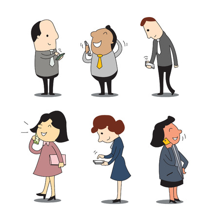 Business people using smartphone in talking, chatting, sending and receiving message, checking email, and updaing news  Business concept in communication   Illustration