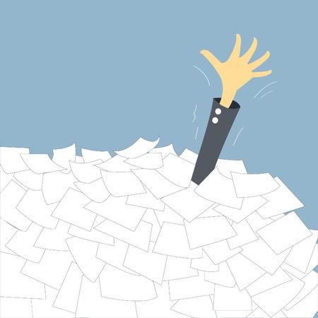Aide occupés et ont besoin, femme d'affaires montrant la main submerger avec la pile de papier Banque d'images - 24579934