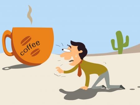 Koffie, zakenman krabben in dessert moet op zoek naar koffie verfrissing