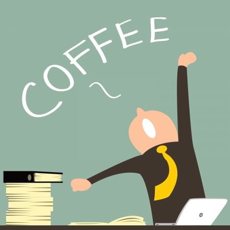 Business man feel tried from hard working, stretching his hands and yawning, desire for coffee