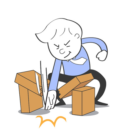 strong strategy: Karate business man can breaking the brick Illustration