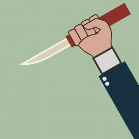murdering: Business man hand with sharp knife for stabbing