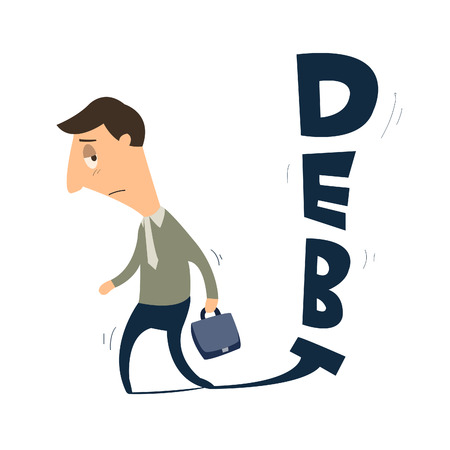 failed: Business man following by debt Illustration