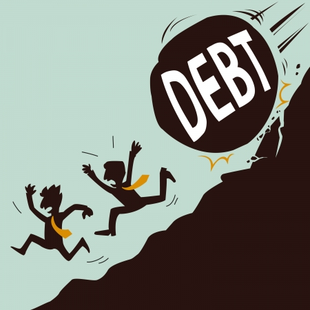 away: Business man escape from debt Illustration