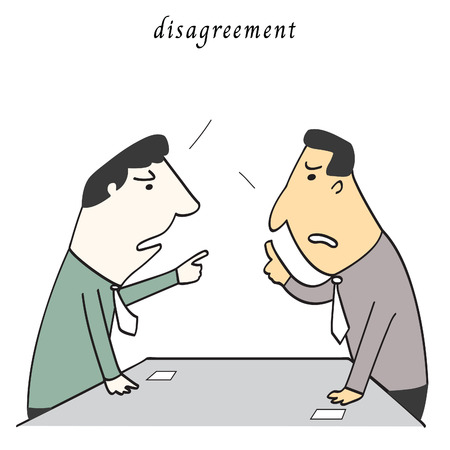 disagreement: Two business man disagreement in meeting or confernece room