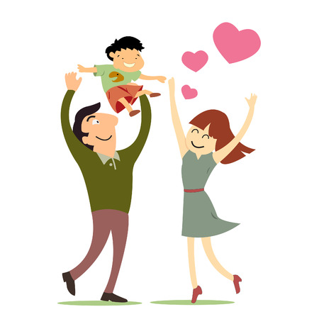 Amor de la familia, madre, padre e hijo