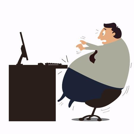 fat cartoon: Too fat businessman  Illustration