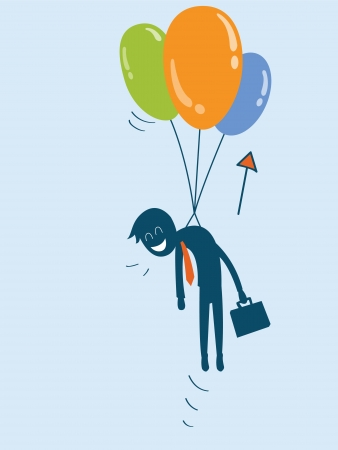 businessman being pulled up in the air by balloon Vector