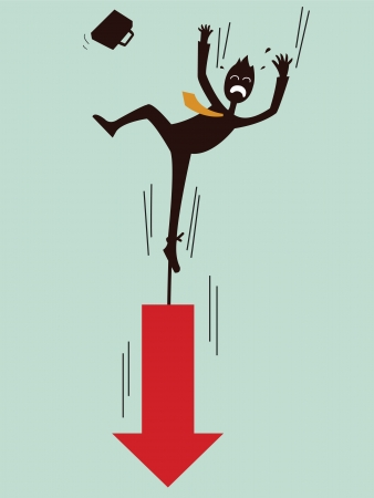 businessman being pulling down by arrow Vector