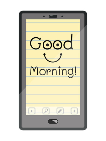 feeling good: Good morning message on screen of smart phone Illustration