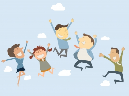 employees: Happy business man and woman jumping in the air Illustration