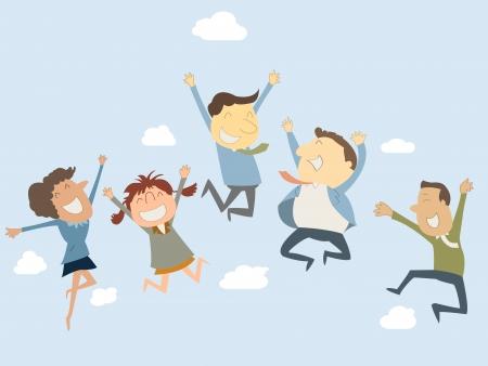 alegria: Hombre de negocios feliz y una mujer saltando en el aire