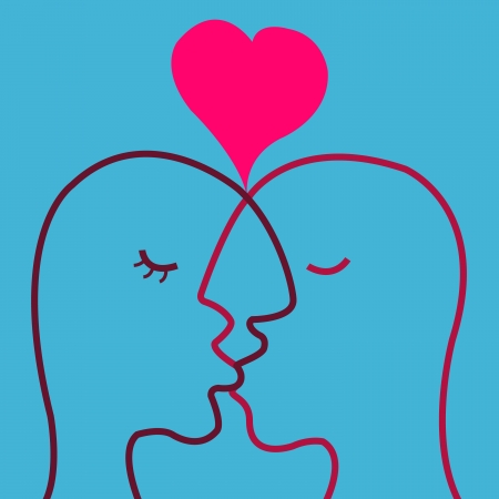 Abstract love on man kissing woman Illustration