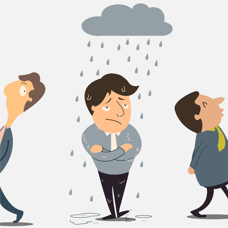 bad luck: Business man with raining and cloud