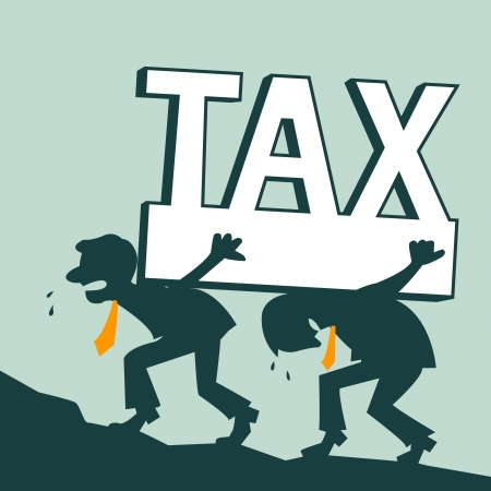 taxes: Tax burden, businessman carrying heavy tax