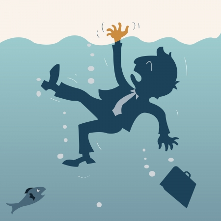 Drowning businessman, representing to bankruptcy or failed in business  Vector