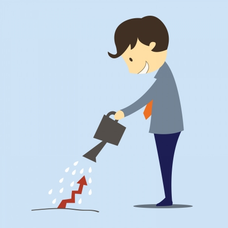 Cute character businessman pouring water to grow up rising arrow