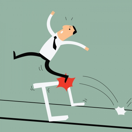 hurdle: Business man running and jumping over the hurdle but failed to cross over it