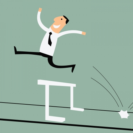 hurdle: Business man running and can jumping over the hurdle