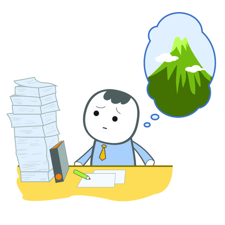 Cute character business man looking at pile of paper he need to finish, he compare it is as high as mountain Ilustrace