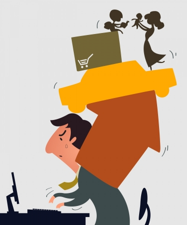 burden: Business man carrying with a lot of debt burden, support family, house, car, credit card Illustration