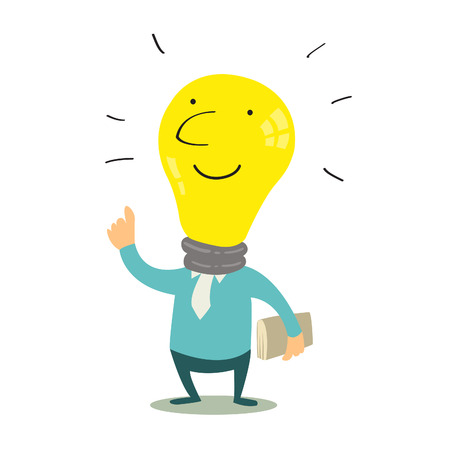 knowledge concept: Get idea with cute light bulb, knowledge concept