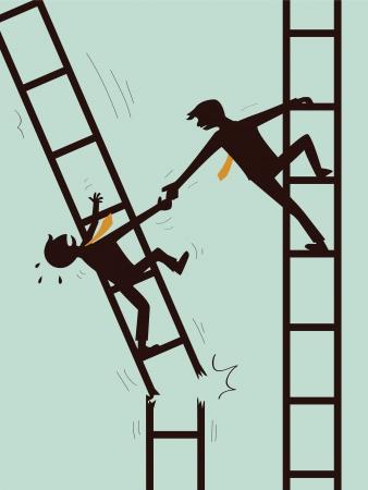 Zakenman die hand aan een andere zakenman die op gebroken ladder helpen