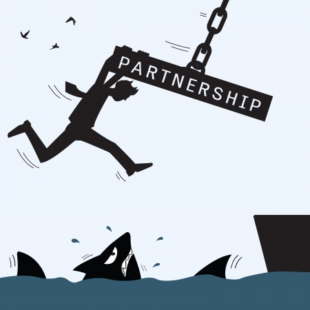 Partnership concept in help and survive each other Stock Vector - 24636115
