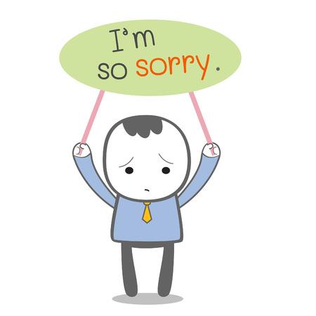 pardon: Je suis désolé un message avec le personnage de bande dessinée d'affaires Illustration