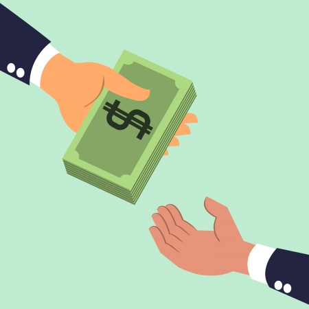 お互いにお金の紙幣を与える実業家の手  イラスト・ベクター素材