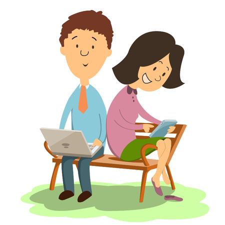 using laptop: L'uomo e la donna seduta sulla panchina e rilassarsi nel giardino utilizzando il computer portatile e tablet in internet social network