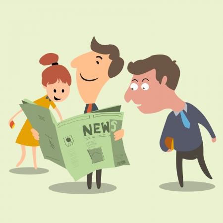 Avoir une bonne presse gens d'affaires heureux et surpris avec de bonnes nouvelles de journal Success concept Vecteurs