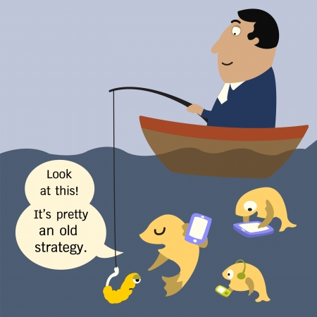 go out: Abstract background on using old business strategy in working  Fish teach his pupils to the way businessman using old strategy to them