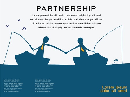 Business man on going fishing on the boat and shaking hands to each other in partnership and corporation concept  Abstract background with copy space and text for your own design