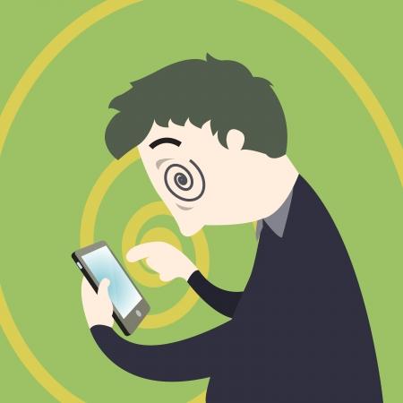 Concepto de adicción de teléfono inteligente, el hombre adicto sobre el uso inteligente de teléfono ilustración vectorial