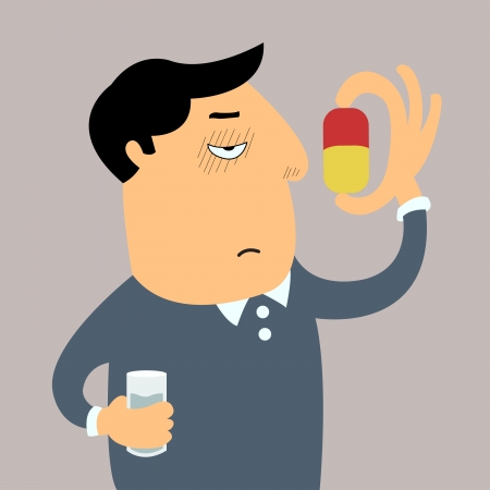 disgusted: Sicked man feel bored and disgusted to swallow big pill in his hands