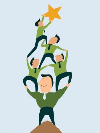 El liderazgo puede traer el trabajo en equipo para llegar a la meta Foto de archivo - 24678894