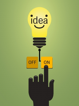 Turn on idea, representing with hand pushing on button  on  for bright light bulb   Vector