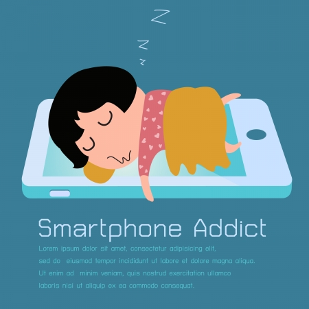 sleeping girl: Girl sleeping with smartphone in concept of smartphone addiction  Vector illustration