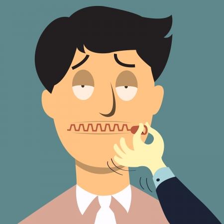 guardar silencio: Comprimir la boca, cállate concepto Vectores